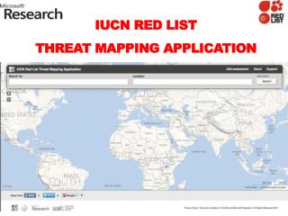IUCN  Red List  Threat Mapping Application