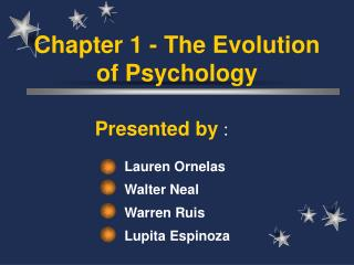 Chapter 1 - The Evolution of Psychology