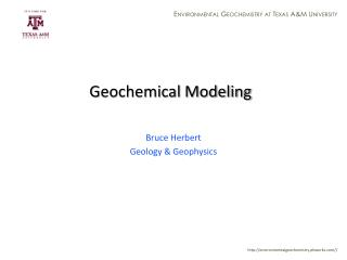 Geochemical Modeling