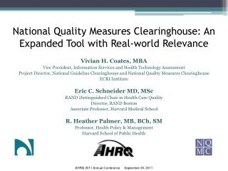 National Quality Measures Clearinghouse: An Expanded Tool with Real-world Relevance