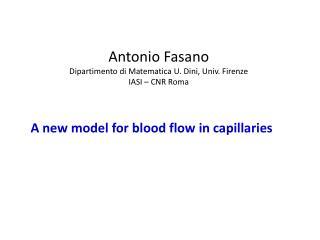 Antonio Fasano Dipartimento di Matematica U. Dini,  Univ . Firenze IASI – CNR Roma