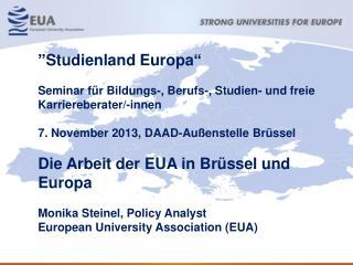 """"""" Studienland Europa """" Seminar für Bildungs-, Berufs-, Studien- und freie Karriereberater/-innen"""