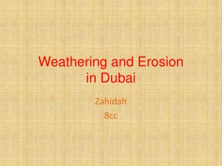 Weathering and Erosion in Dubai