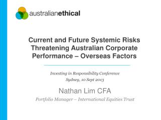 Current and Future Systemic Risks Threatening Australian Corporate Performance – Overseas Factors