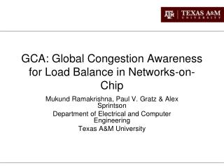 GCA: Global Congestion Awareness for Load Balance in Networks-on-Chip