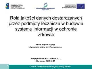 dr inż. Kajetan Wojsyk Zastępca Dyrektora ds. Informatycznych