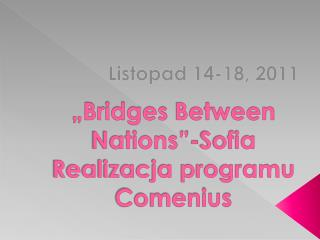 """Bridges  Between Nations""-Sofia Realizacja programu Comenius"