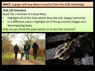 WALT:  engage with key ideas in poetry from the AQA anthology