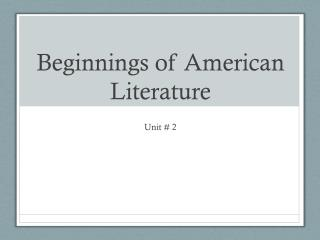 Beginnings of American Literature