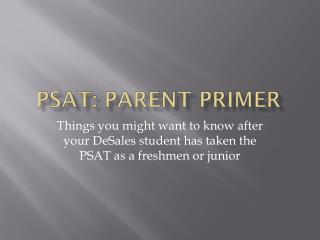 PSAT: Parent Primer