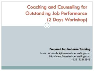 Coaching and Counseling for Outstanding Job Performance (2 Days Workshop)