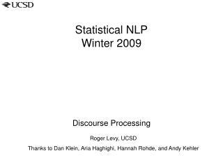Statistical NLP Winter  2009