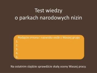 Test wiedzy o parkach narodowych nizin