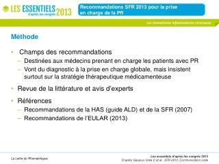 Recommandations SFR  2013  pour la prise  en charge de la PR