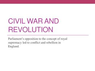 Civil War And Revolution