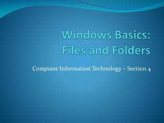 Windows Basics: Files and Folders