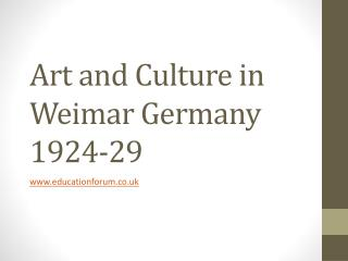 Art and Culture in Weimar Germany 1924-29