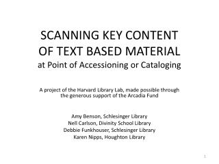 SCANNING KEY CONTENT OF TEXT BASED MATERIAL at Point of Accessioning or Cataloging