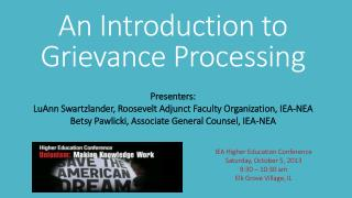 An Introduction to Grievance Processing