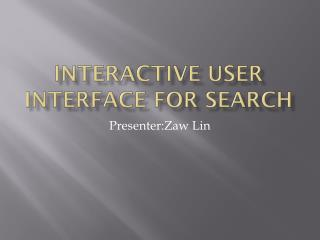 Interactive user interface for search