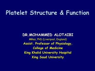 Platelet Structure & Function