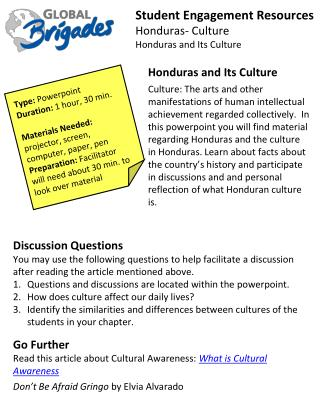 Student Engagement Resources Honduras- Culture Honduras and Its Culture