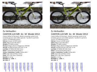 Zu Verkaufen: CANYON LUX MR   Gr .: M  Model 2012
