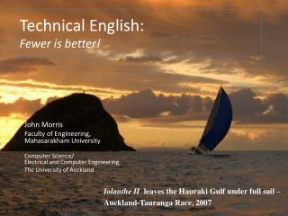 Technical English: Fewer is better!