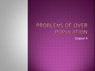 Problems of over population