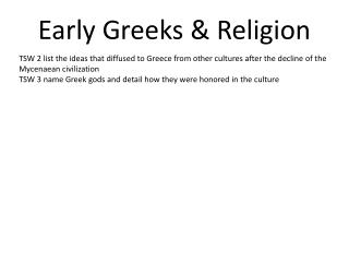 Early Greeks & Religion