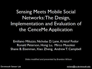 Slides modified and presented by Brandon Wilson