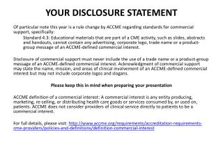 YOUR DISCLOSURE STATEMENT