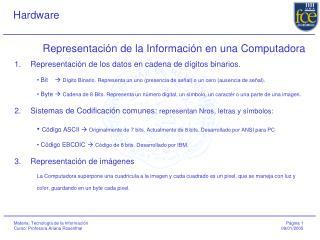 Representaci n de la Informaci n en una Computadora
