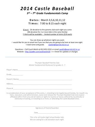 Thumper Baseball Parents Club Winter fundamental Workouts for grades 3 -  7