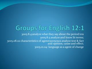 Groups for English 12:1