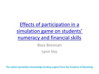 Effects of participation in a simulation game on students' numeracy and financial skills