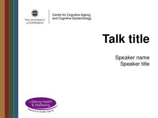 Talk title