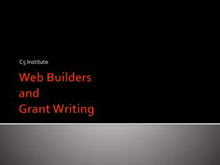 Web Builders and Grant Writing