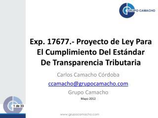 Exp. 17677.-  Proyecto  de  Ley  Para  El Cumplimiento Del Estándar De Transparencia Tributaria