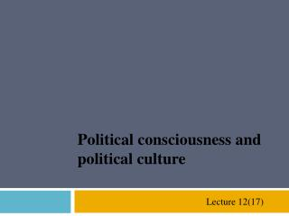 Political consciousness and political culture