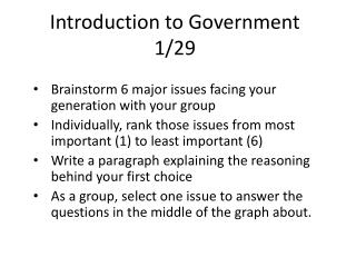 Introduction to Government 1/29