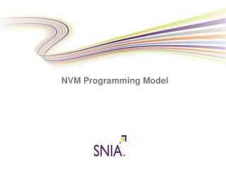 NVM Programming Model