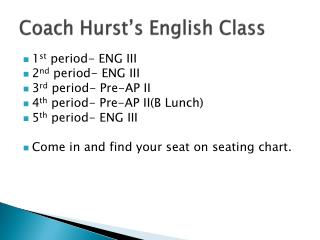 Coach Hurst's English Class