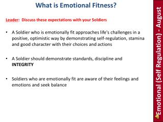 Emotional  (Self Regulation) - August
