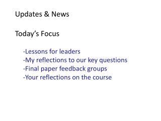 Updates & News
