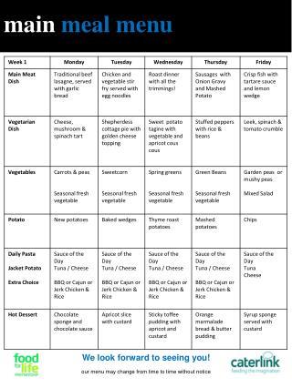 main meal menu