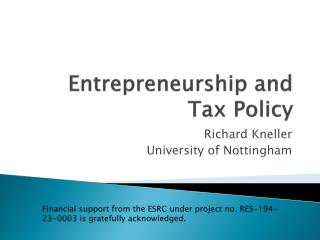 Entrepreneurship and Tax Policy