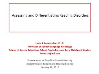 Assessing and Differentiating Reading Disorders