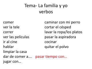 Tema - La  familia y yo verbos