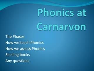 Phonics at Carnarvon